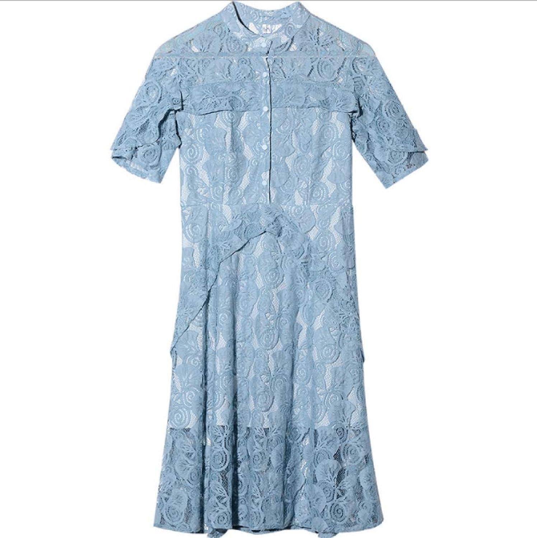 WLFCMJ Lace Rundhalsausschnitt Kleid Sommer Haken Blaume, Luft Größe Lange Prinzessin Kleid Erwachsenen blau M-Code