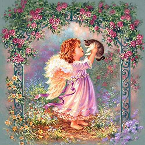 Ssckll Diamond Embroidery Christmas Angel Cat 3D DIY Diamond Painting Pattern Rhinestones Diamond Mosaic Needlework Mosaic Painting 40x50cm