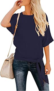 Women's Tie Knot Front Tops Half Sleeve Summer Blouses Solid Color Tee Casual Loose Shirts