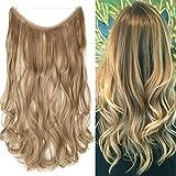 Haarteil Extensions Haarverlängerung 1 Tresse Haare Haarverdichtung mit Unsichtbarer Draht Sandy Blonde & Blond Bleichen Wavy-50 cm-90g
