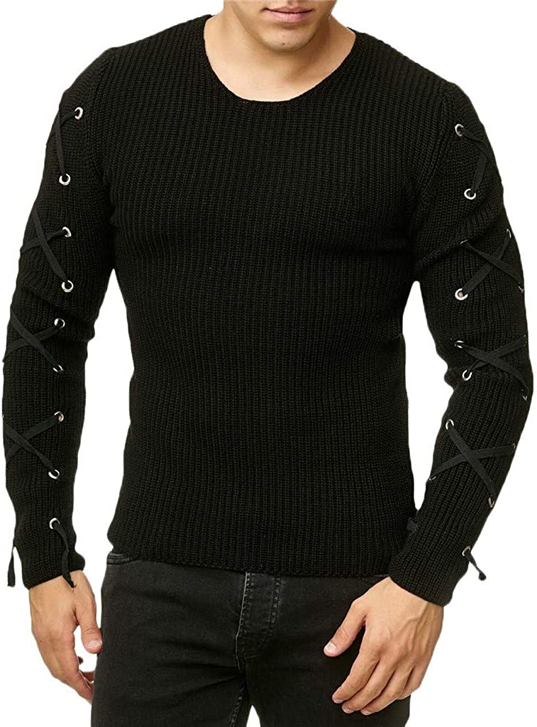 eipogp Men's Casual Slim Fit Knitted Sweaters Crew Neck Pullover Sweaters Jumper Sleeve Cross Lace up Winter Warm Blouse