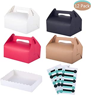 Joyclub Treat Boxes, Decorative Kraft Gift Box, Set of 12 Bakery Cake Cupcake Cookies Chocolate Box, 12 Trays and 45 Stickers Included (4 Colors)