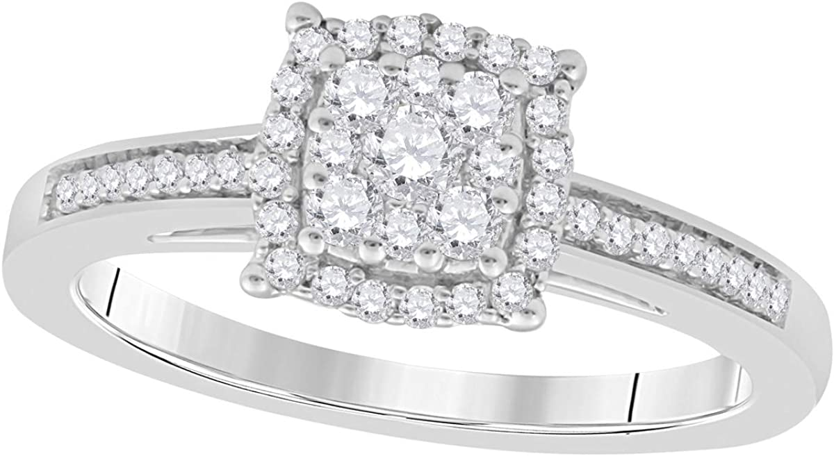 Brights Collection 3/8 Carat Natural/Round/White Diamond Square Shape Engagement Wedding Ring For Women's In 10K White Gold
