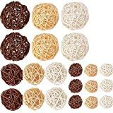 Supla 21 Pcs/lot Mixed 3 Colors Rattan Wicker Balls Vase Fillers for Wedding Party Christmas...