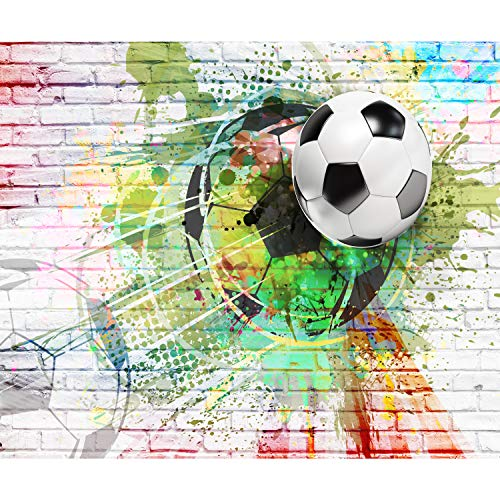 decomonkey | Papier peint intissé Football 100x70 cm XL Trompe l oeil | Déco Mural Tableaux Muraux Photon Jeunesse Pépiniere Brique