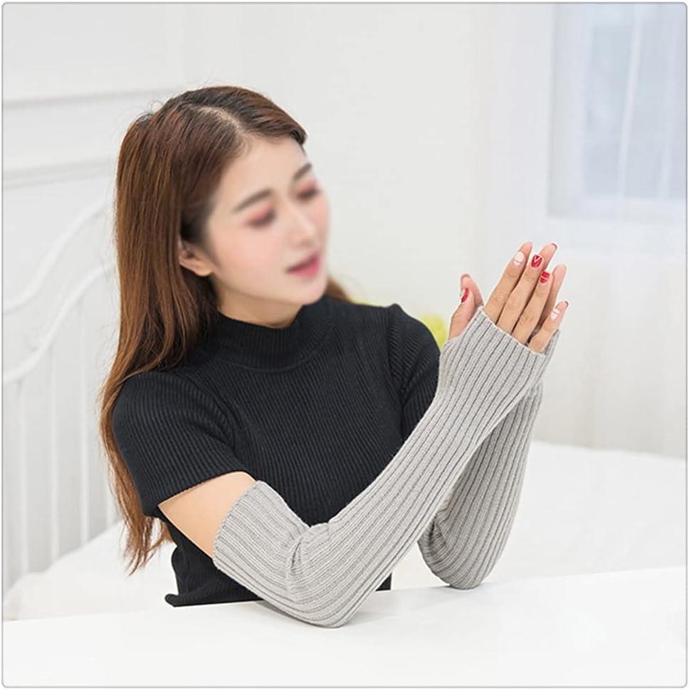 WBDL Winter Autumn Long Knitting Gloves for Women Cotton Blend Fingerless Gloves Ladies Elbow Mittens Mittens Gifts (Color : Light Gray)