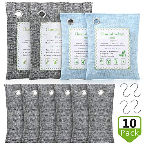 Save %23 Now! 1Easylife Bamboo Charcoal Air Purifying Bags 10 Pack 2x500g, 2x200g,6x50g, 4 Hooks, La...