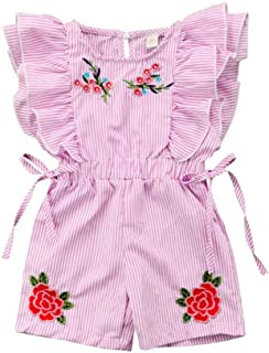 Toddler Baby Girls Romper Flower Embroidery One-Piece Stripe Ruffle Floral Bodysuits Jumpsuit Kid Summer Outfit Set