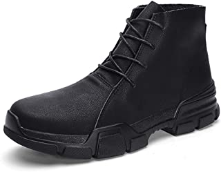 Men Boots Work Shoes Men Footwear Rubber Ankle Shoes Real Leather Men Male Boots Autumn Winter with Fur Warm Snow Boots%89075 Black 7