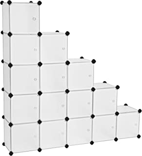 SONGMICS 16 Cube DIY Storage Organiser Unit, Plastic Closet Cabinet, Wardrobe, with Doors, for Clothes Shoes Toys Books, Easy to Assemble, White ULPC44BS