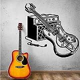 jiuyaomai Autocollant Mural Guitare Électrique Stickers Muraux Rock Pop Musique Mur Art Mural Musique Accueil Décor Musique Instrument de Musique Guitare Autocollant Rose 42X42CM