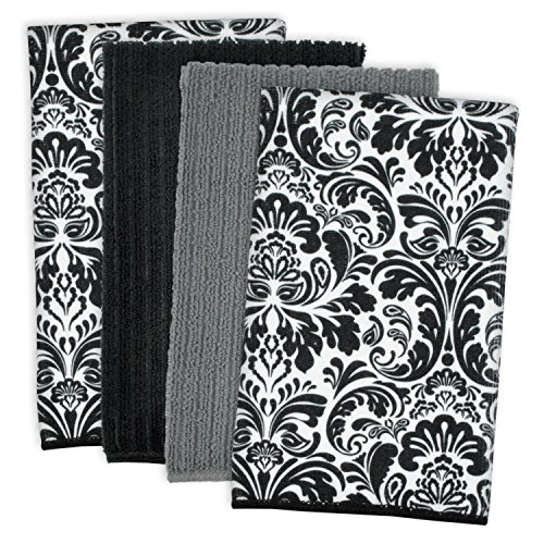 "DII Microfiber Multi-Purpose Cleaning Towels Perfect for Kitchens, Dishes, Car, Dusting, Drying Rags, 16 x 19"", Set of 4 - Black Damask"