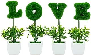 Love Decoration White Ceramic Green Hedge Artificial Plant Set/Set of 4 Fake Plant Letters