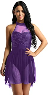 Yeahdor Women's Illusion Sweetheart Polka Dots Halter Lyrical Modern Contemporary Dance Dresses High Low Tutu Skirt