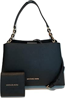 MICHAEL Michael Kors Sofia Large EW Satchel bundled with Michael Kors SM Card Case Carryall Wallet (Black)
