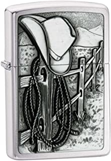 Personalized Message Engraved Customized Resting Cowboy Country Emblem Zippo Indoor Outdoor Windproof Lighter