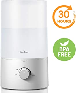 Humidifier, kealive Large Room Lasts 30 Hours Cool Mist Humidifier, Overload Protection Ultrasonic Humidifier, Whisper Quiet Adjustable Baby Humidifier, Nano-Coating, Auto Shut Off, BPA Free