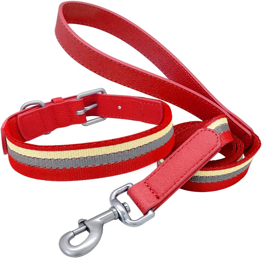 Nylon Dog Collar and Leash store Do Stripes Easy-to-use Set Reflective Adjustable
