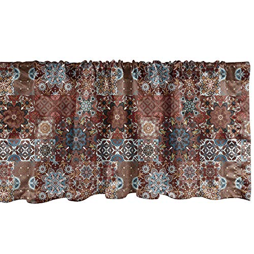Ambesonne Victorian Window Valance, Classic Victorian Floral Motives and Mandala Pattern, Curtain Valance for Kitchen Bedroom Decor with Rod Pocket, 54' X 18', Burgundy Brown