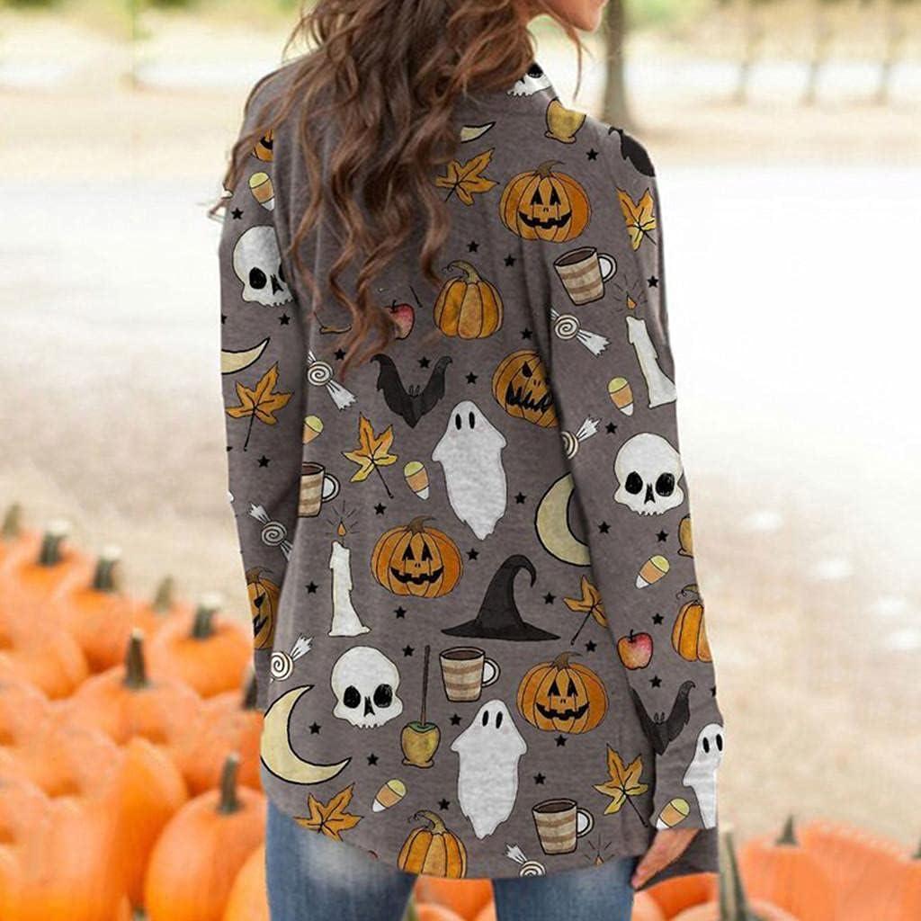 Halloween Cardigan for Women,Halloween Pplus Size Womens Sweatshirt Open Front Pumpkin Cat Bat Print Hoodies