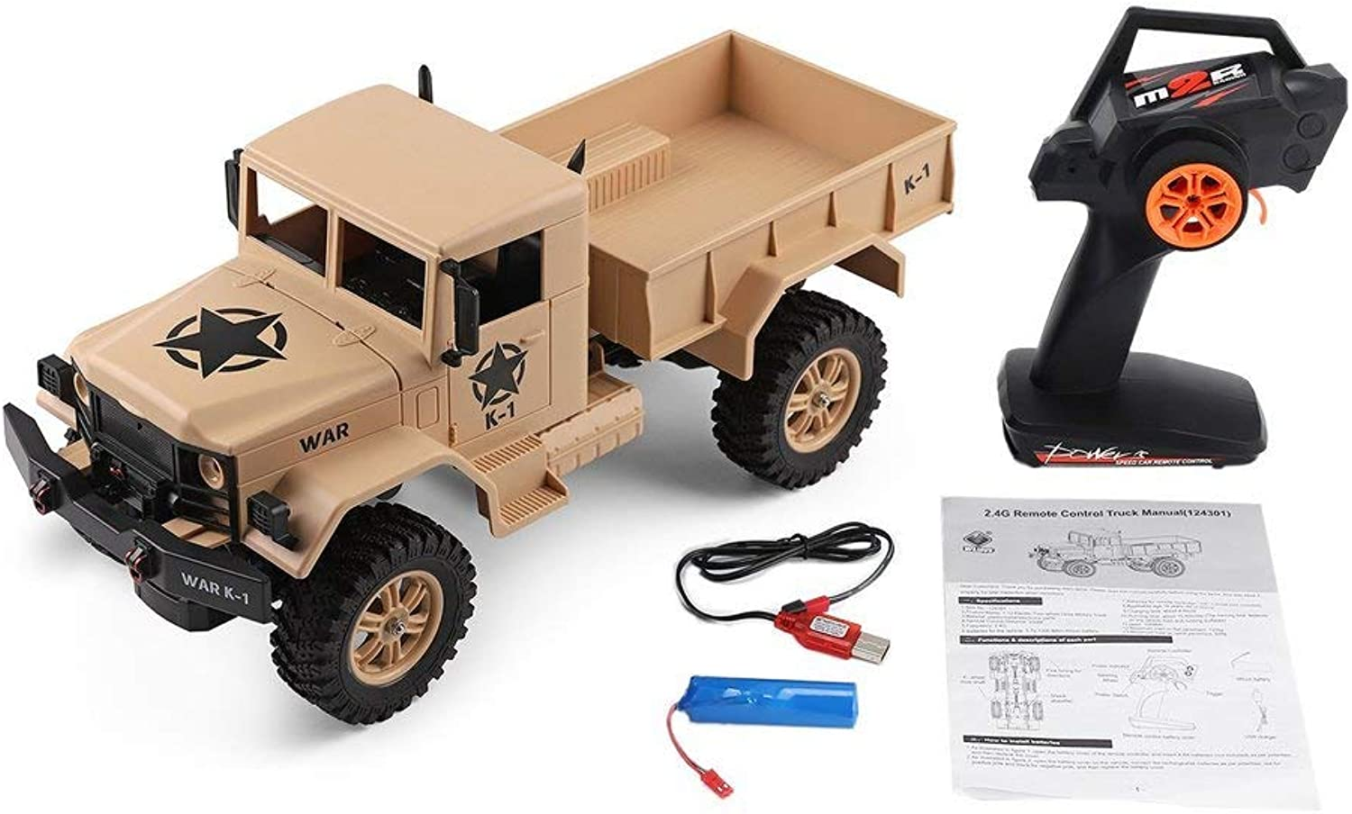 Generic Wltoys 124301 2.4ghz 1 12 4wd OffRoad Rc Military Truck Vehicle Rc Car Remote Control Truck Model Toys Hobby for Kids Adults Yellow