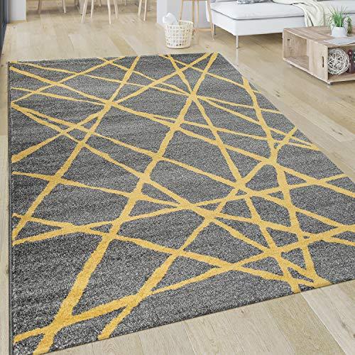 Paco Home Tapis Salon Motif Rayé Moderne Poils Ras Abstrait Lignes Jaune Gris, Dimension:120x170 cm
