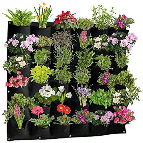 Garten 36 Taschen, vertikale Wandaufhängung, Pflanzgefäße aus Stoff, Pflanzbeutel, Pflanzgefäß, Wandhalterung, für Blumen, Pflanzen