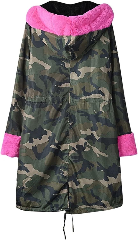HXHYQKP Womens Faux Fur Coat Parkas Hooded Faux Fur Lined Warm Coats Anoraks Outwear Winter Long Jackets