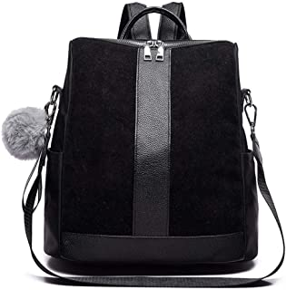 Fashion Suede Leather Women's Backpack Backpacks Female Hairball Big Patchwork Shoulder Bags Black