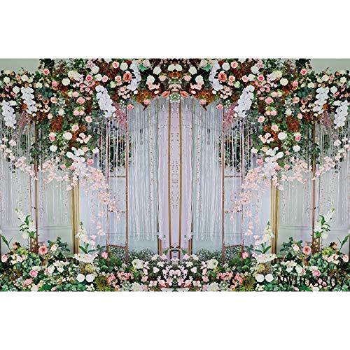 Boda Cortina Blanca Flor Guirnalda Floral Pared Fiesta fotografía Fondos decoración telones de Fondo para Estudio fotográfico A16 10x7ft / 3x2.2m