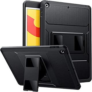 MoKo Case Fit New iPad 10.2 2019 (10.2 inch), [Heavy Duty] Shockproof Full Body Rugged Hybrid Cover with Built-in Screen Protector Compatible with Apple iPad 7th Generation 2019 - Black