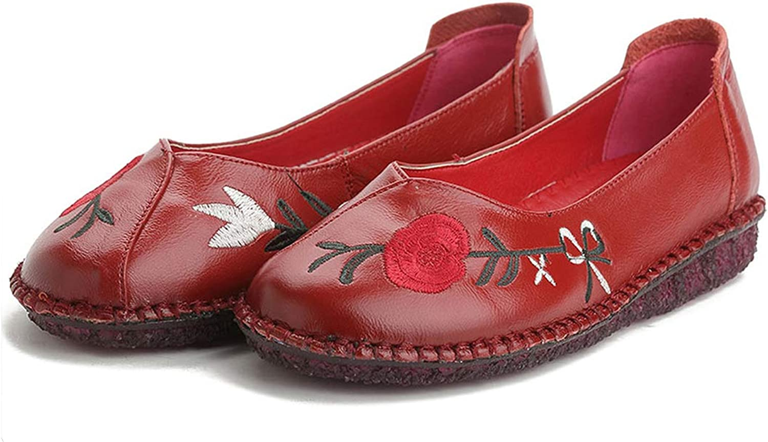Good-memories Women Flat shoes Women Handmade Genuine Leather Flat-Heeled shoes Round Toe shoes Fashion Summer shoes