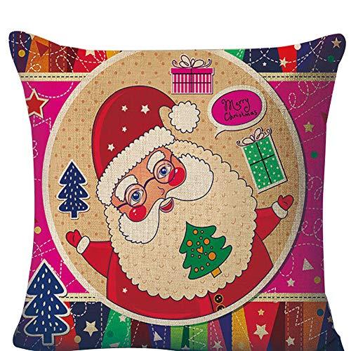 nvIEFE Weihnachten Dekokissen Cover Cases Baumwolle Leinen dekorative Couch Schlafsofa und Auto 18 x 18 Zoll (F1, 18 x 18 Zoll)