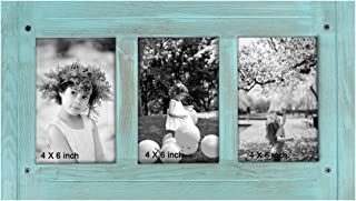 TNELTUEB 4 x 6 Rustic Shabby Chic Frame - Turquoise Blue Distressed Wood Frame - Made to Display 3 4 x 6 Photos - Place on Tabletop, Shelf or Wall, Built-in Easel