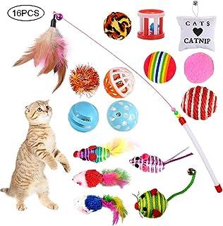 GOLDGE 16 Piezas Juguetes para Gatos, Juguete Interactivo