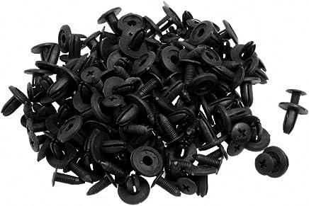 SODIAL(R) 100 x Cierre Remache de Plastico Tipo de Empuje para Guardabarros de Coche, Negro 15 x 13 x 6mm