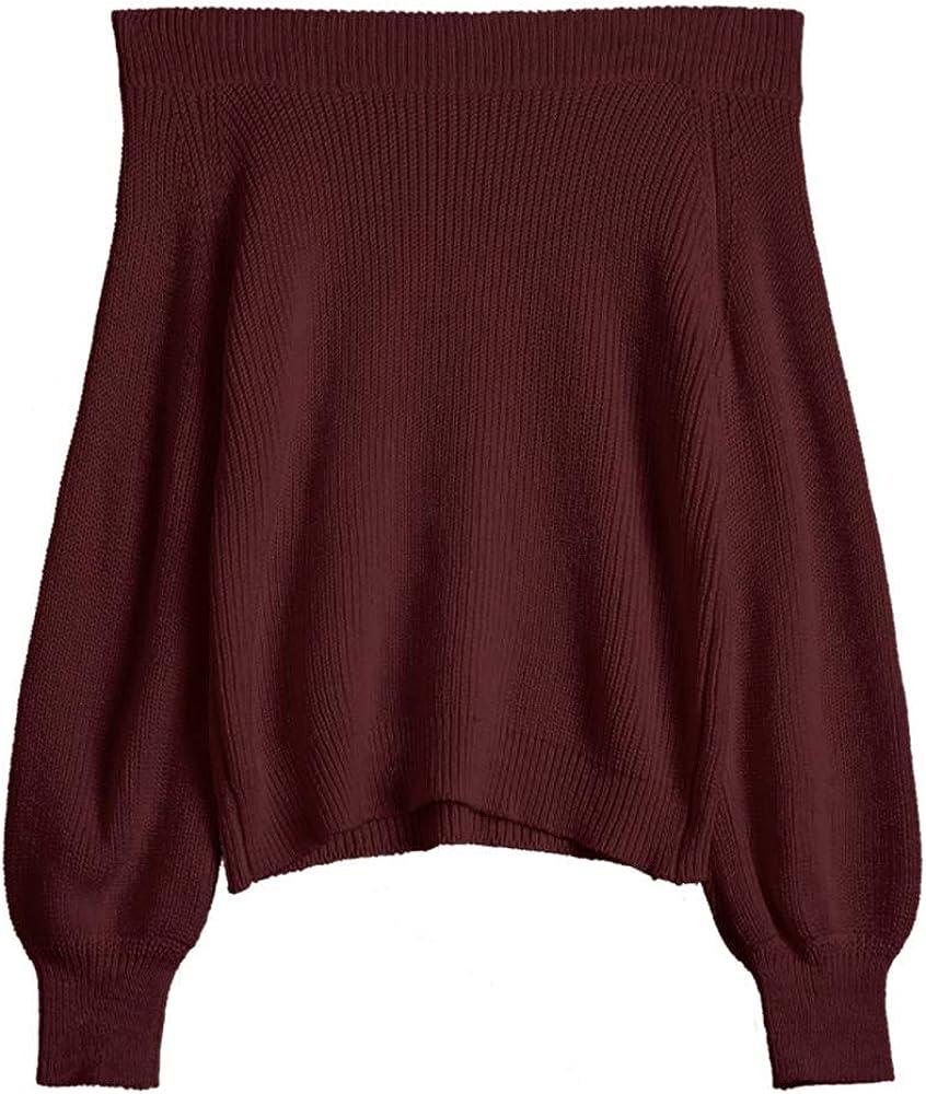 ZAFUL Women's Knit Sweater Lantern Sleeve Casual Batwing Sleeve Off Shoulder Loose Pullover Jumper