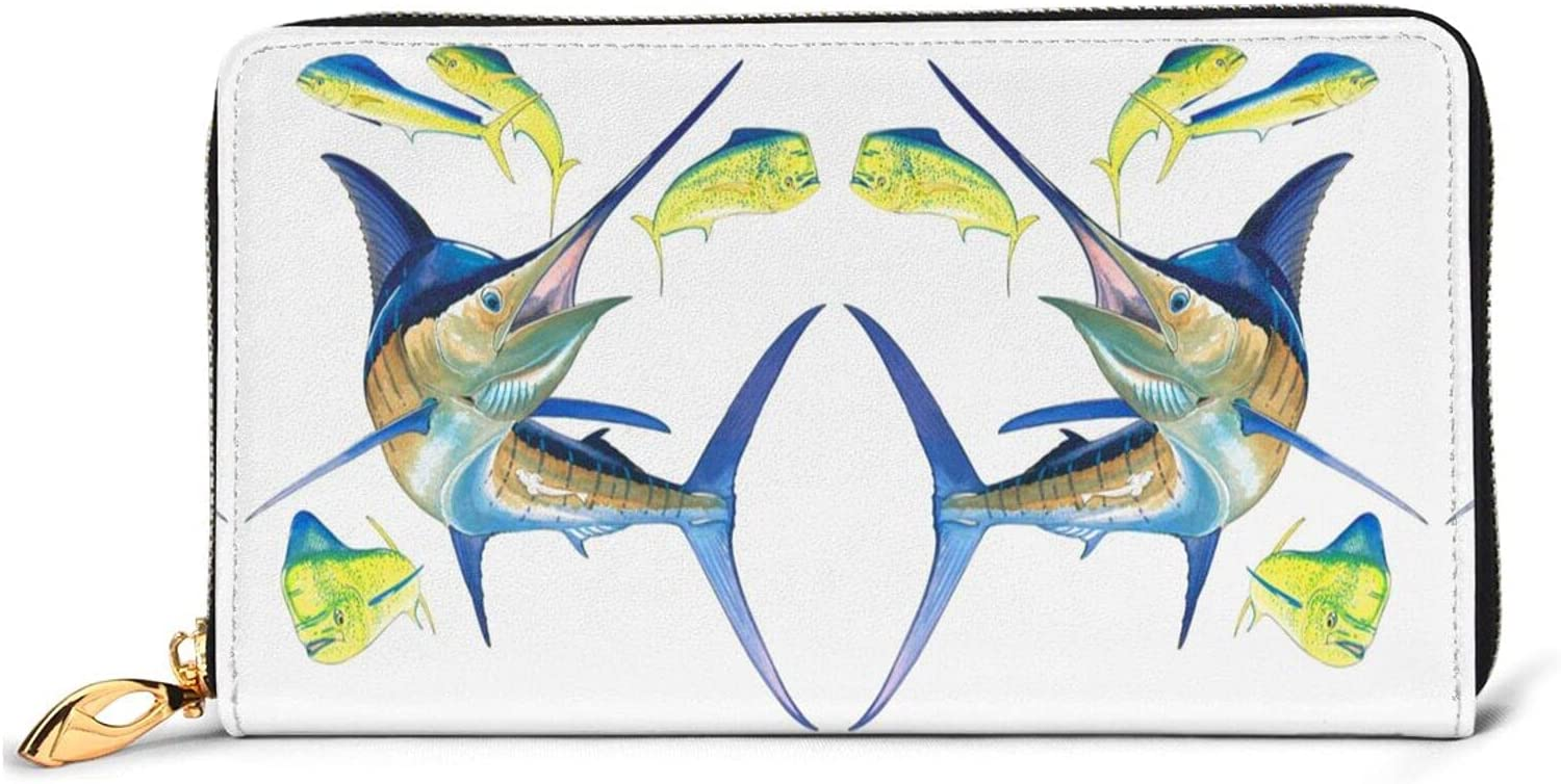 Fish Art Leather Wallet Colorado Same day shipping Springs Mall Women Long Purse Zip Clutch Around T Bag