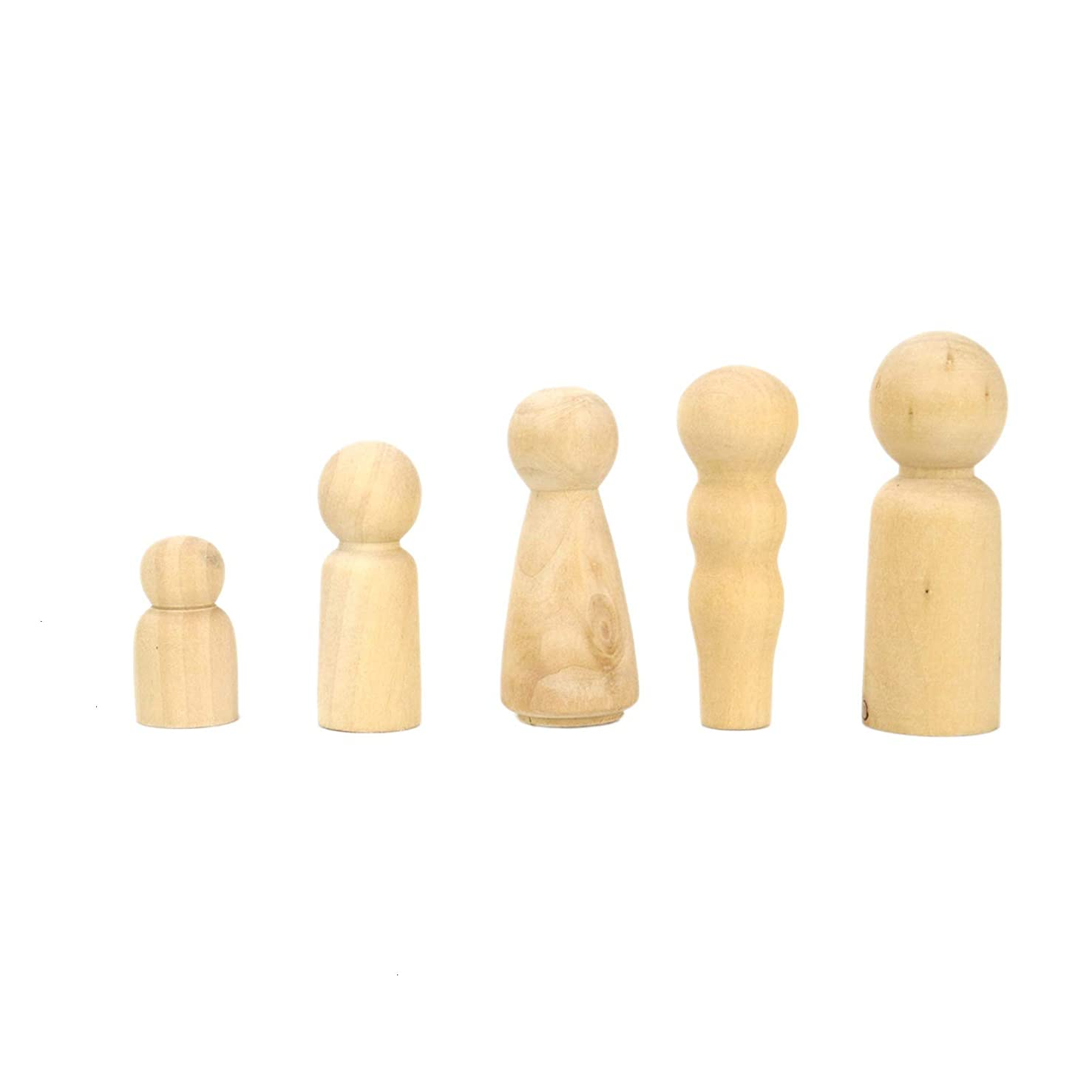 AQUEENLY Unfinished Wood Peg Doll Family Set - A Family of Five - Great for Arts and Crafts(2 Set)