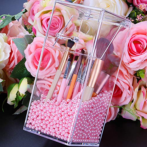 Makeup Brush Holder With Lid Cosmetic Brush Organizer Makeup Brush Display Case Dustproof Cosmetics Brush Storage Container with Free Pearls