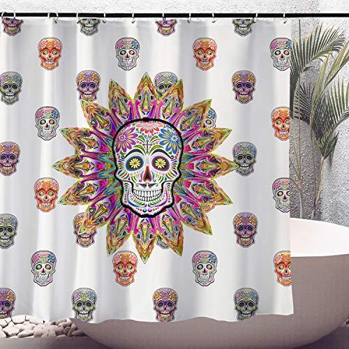Day of the Dead Sugar Skulls Duschvorhang, dekorativer Duschvorhang, buntes Bohemian-Muster mit Totenköpfen, 183 x 183 cm, wasserdicht, Badezimmer-Duschvorhang-Set mit Haken (Typ 1)