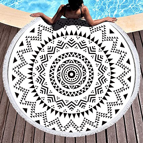 NHhuai Toallas - Microfibra Toalla de Playa Toallas de Acampada Piscina Figura geométrica con Borla Redonda
