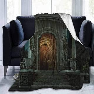soft blanket twin size Gothic,Roman Pavilion Lantern Ivy on Pillars under Dome Medieval Architecture Mystic Theme,Dark Ivory,60