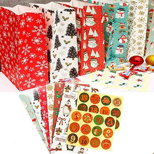 Paquete de 24 bolsas de regalos navideños Bolsas de panadería Bolsas de...