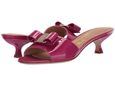 Salvatore Ferragamo Ginostra Kitten Heel (Magenta Patent) Women