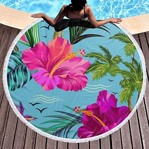 Hello Hawaii dickes rundes Strandtuch, runde Quaste, Picknickdecke, Mikrofaser-Stranddekoration