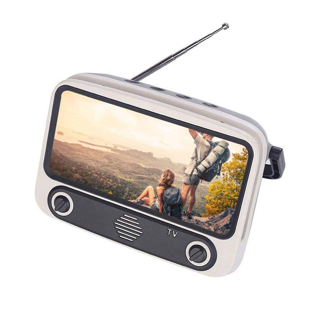 Perfuw Soporte para teléfono celular, Retro 32.8ft altavoz inalámbrico teléfono soporte, altavoz portátil, reproductor de música Radio FM, Mini BT altavoz, escritorio teléfono celular soporte para teléfonos con pantalla de 4.7-5.5 pulgadas:
