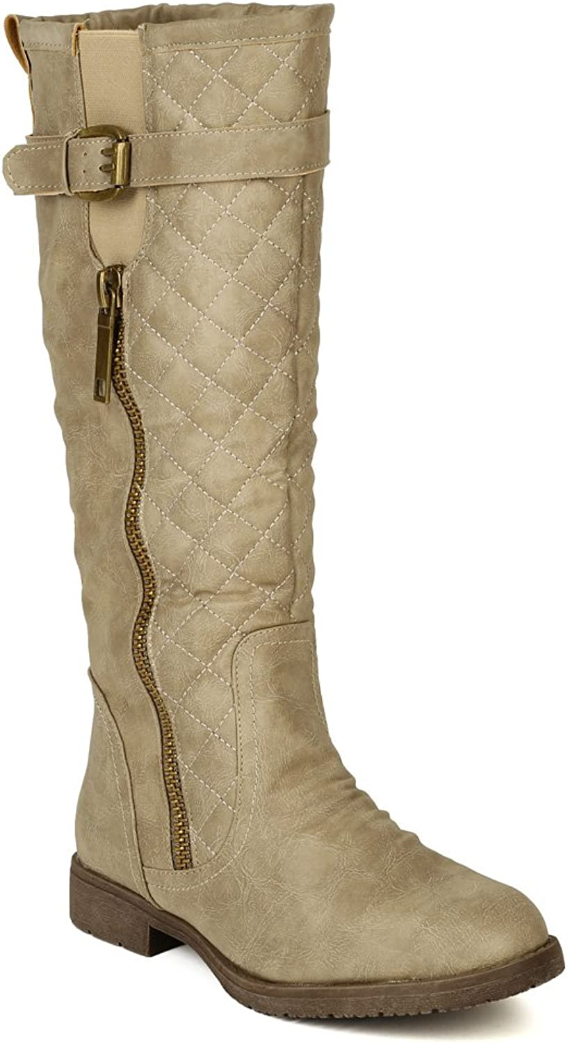 Nature Breeze Women Leatherette Quilted Strap Calf High Riding Boot BD74 - Sand