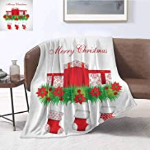 Luoiaax Christmas Bedding Microfiber Blanket Stockings Hanging for Santa Mistletoe Illustration Merry Christmas for All Super Soft and Comfortable Luxury Bed Blanket W70 x L84 Inch Red Emerald White