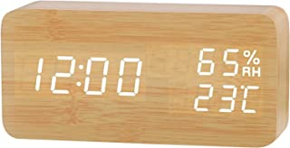 Desk Wooden Alarm Clock with Day Date Temperature Humidity Adjustable 3 Brightness Voice Control Indoor Thermometer Hygrom...